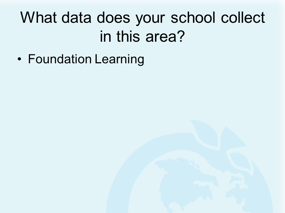 What data does your school collect in this area