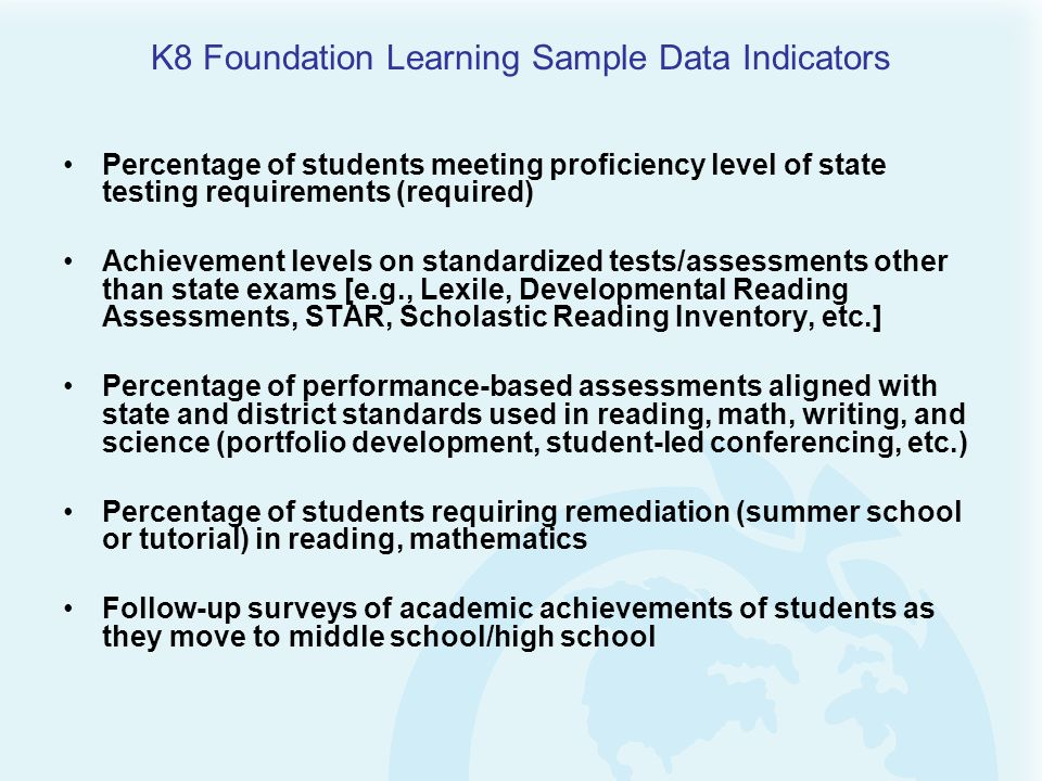 K8 Foundation Learning Sample Data Indicators