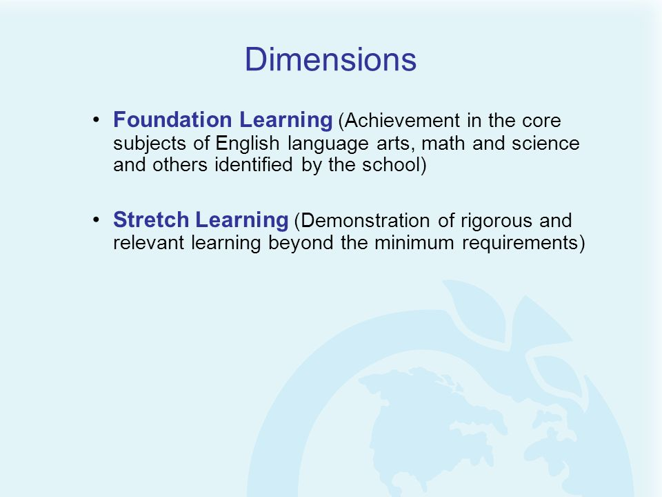 Dimensions Foundation Learning (Achievement in the core subjects of English language arts, math and science and others identified by the school)