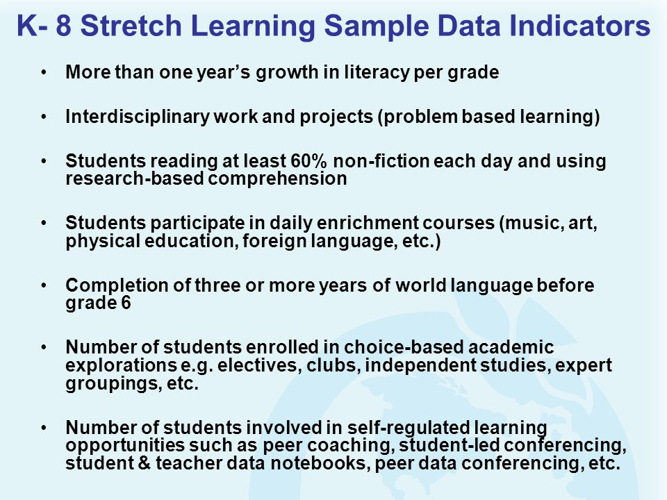 K- 8 Stretch Learning Sample Data Indicators