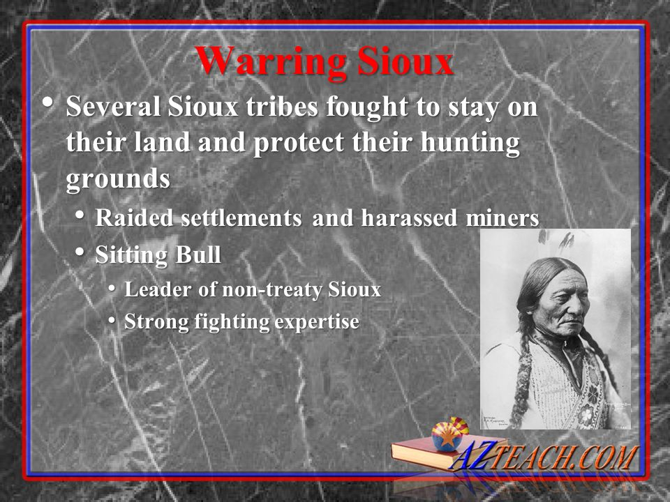 Warring Sioux Several Sioux tribes fought to stay on their land and protect their hunting grounds. Raided settlements and harassed miners.