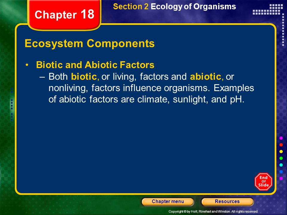 Chapter 18 Ecosystem Components Biotic and Abiotic Factors