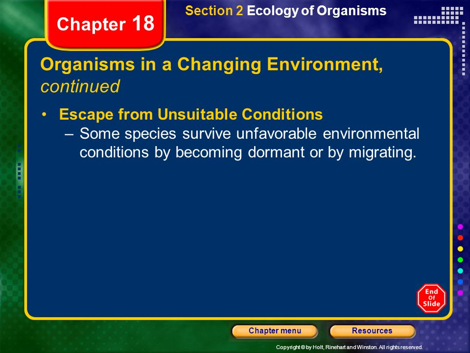 Organisms in a Changing Environment, continued