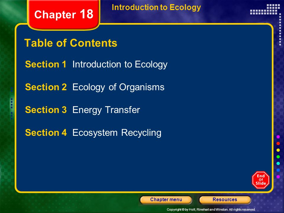 Chapter 18 Table of Contents Section 1 Introduction to Ecology