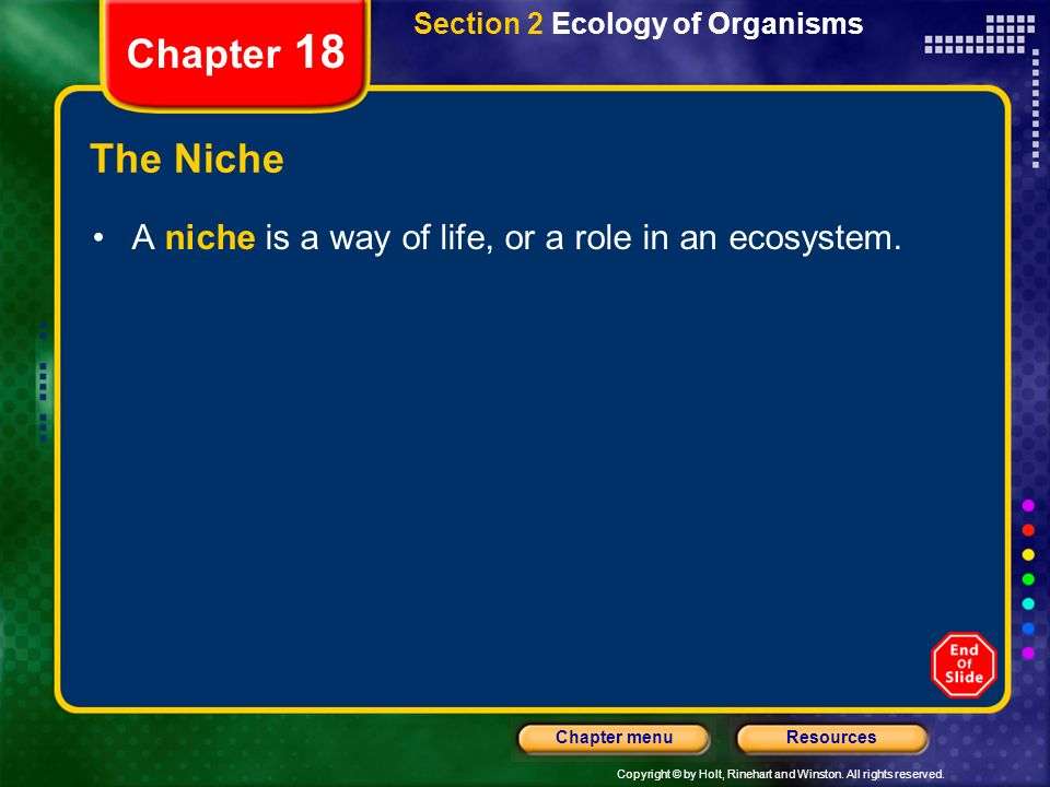 Section 2 Ecology of Organisms