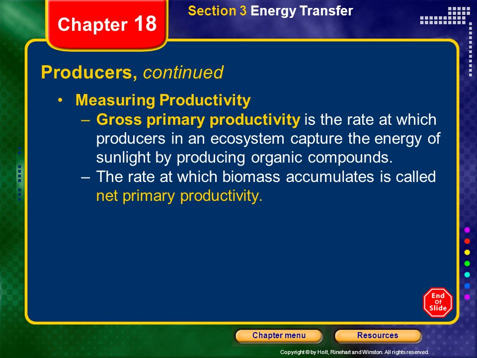 Chapter 18 Producers, continued Measuring Productivity