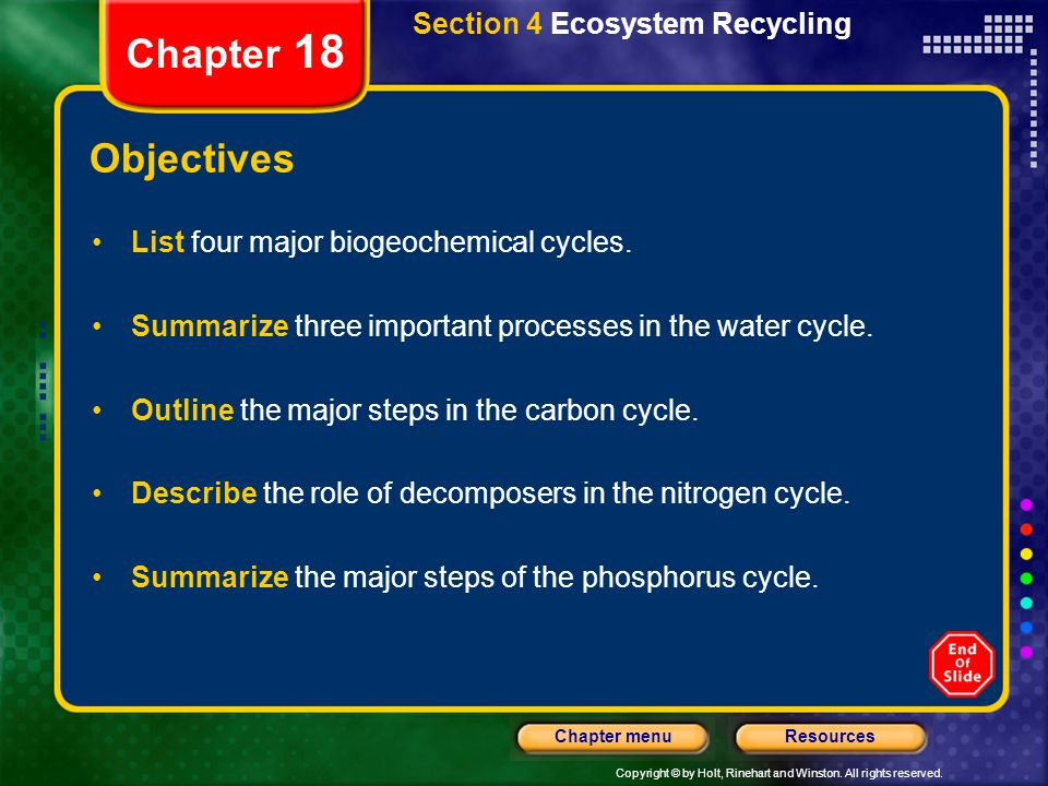 Chapter 18 Objectives Section 4 Ecosystem Recycling