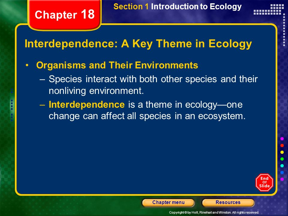 Interdependence: A Key Theme in Ecology