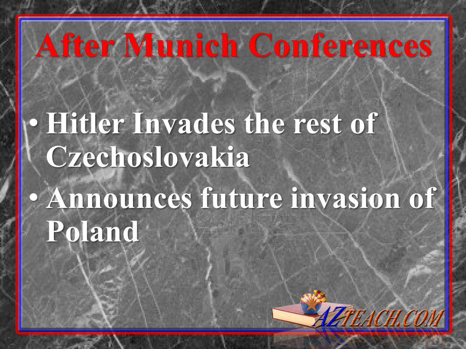 After Munich Conferences