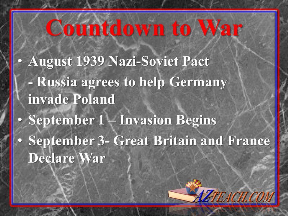 Countdown to War August 1939 Nazi-Soviet Pact