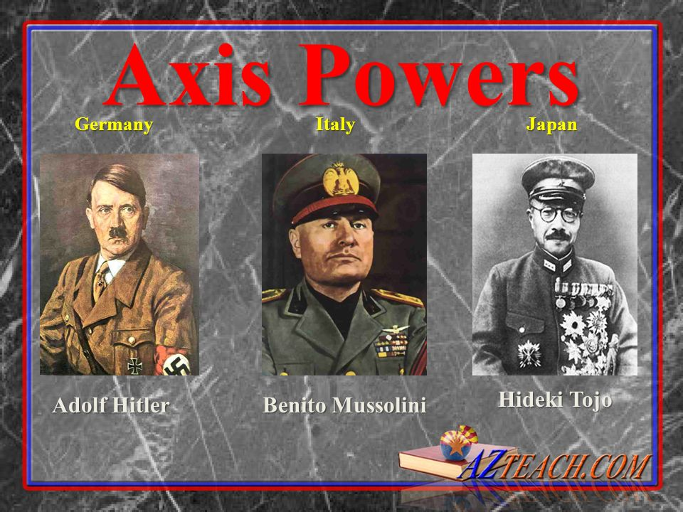Axis Powers Hideki Tojo Adolf Hitler Benito Mussolini Germany Italy