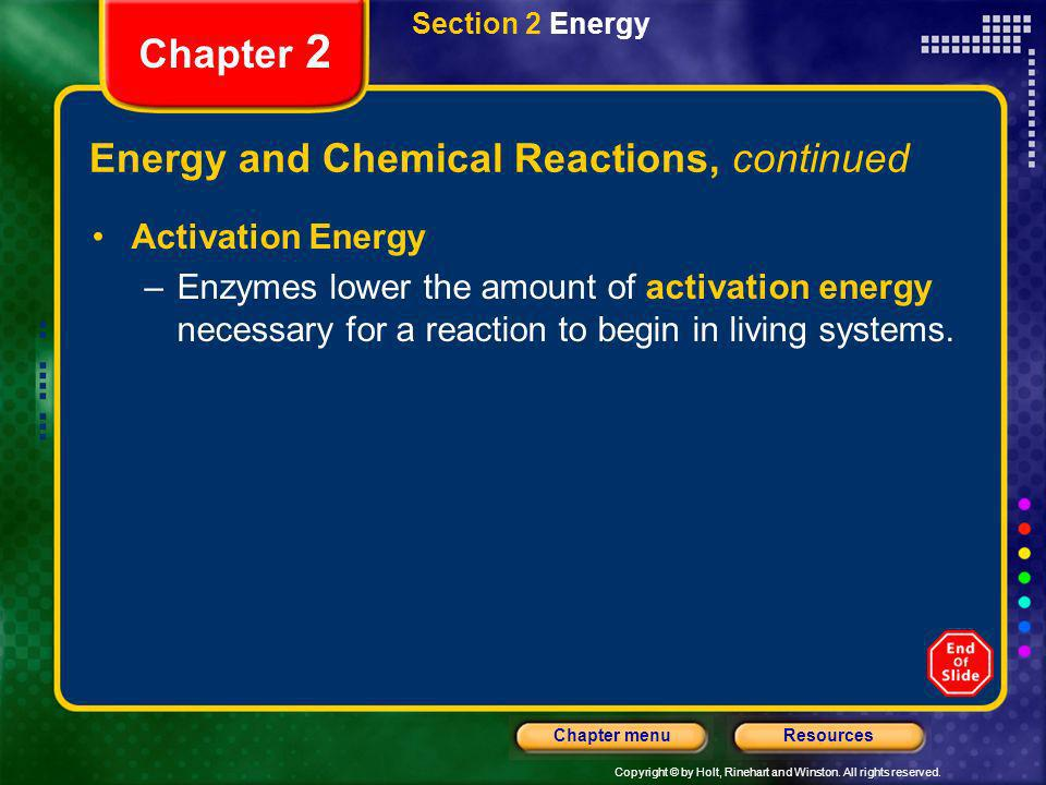 Energy and Chemical Reactions, continued