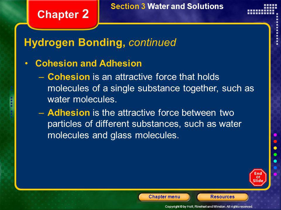 Hydrogen Bonding, continued