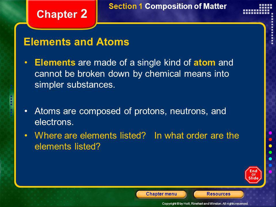 Chapter 2 Elements and Atoms