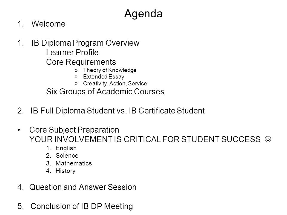 Agenda Welcome IB Diploma Program Overview Learner Profile