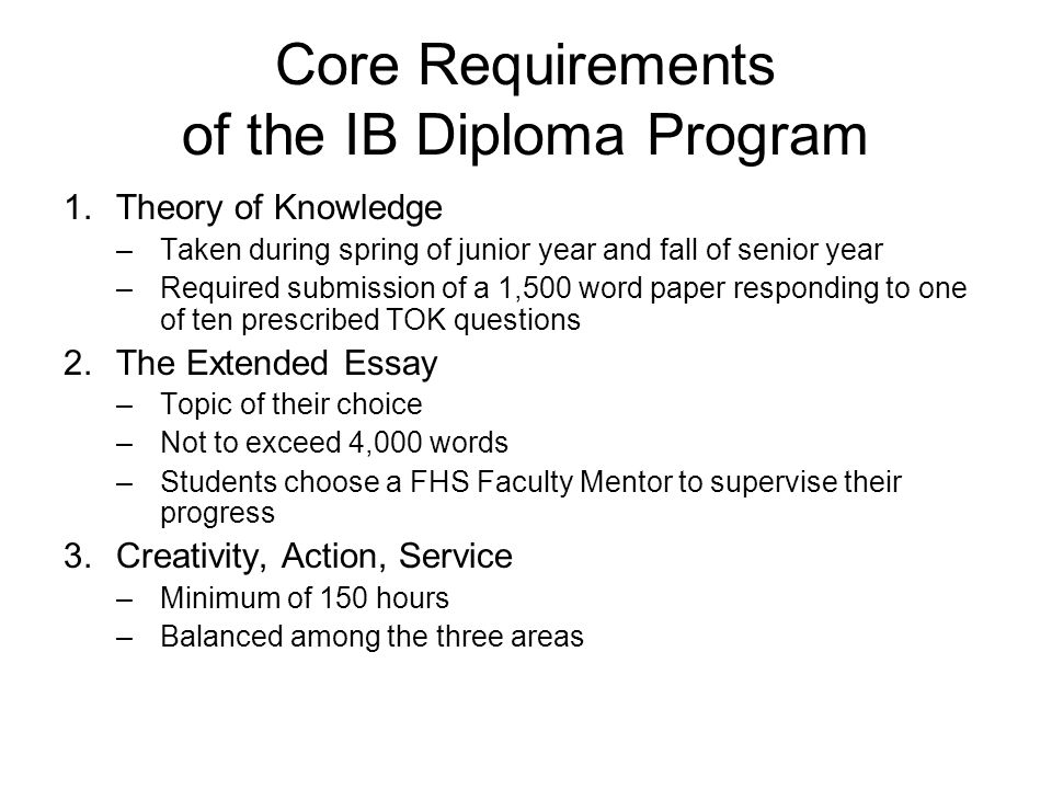 Core Requirements of the IB Diploma Program