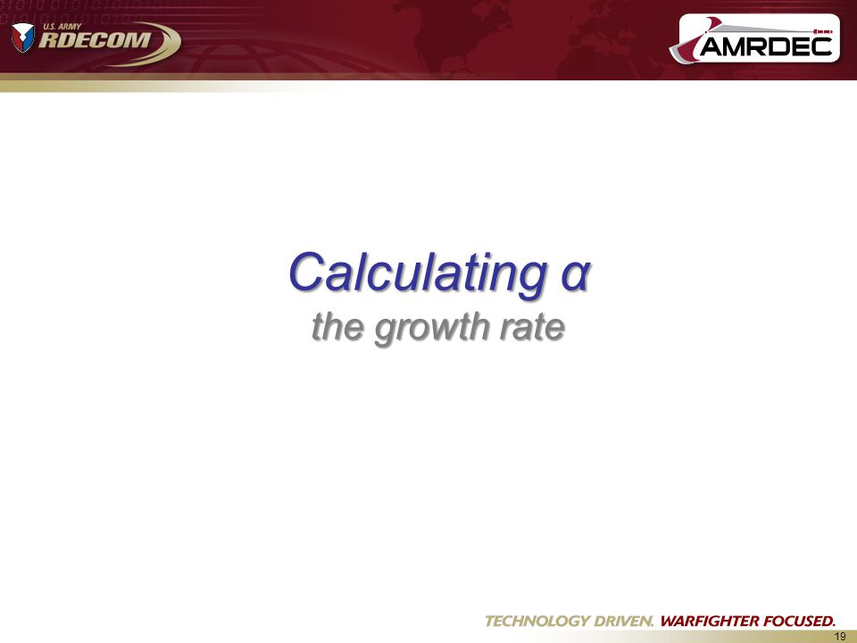 Calculating α the growth rate
