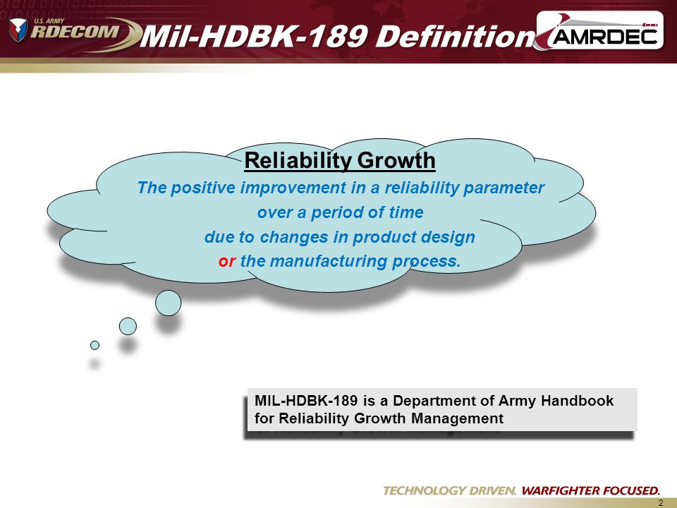 Mil-HDBK-189 Definition Reliability Growth