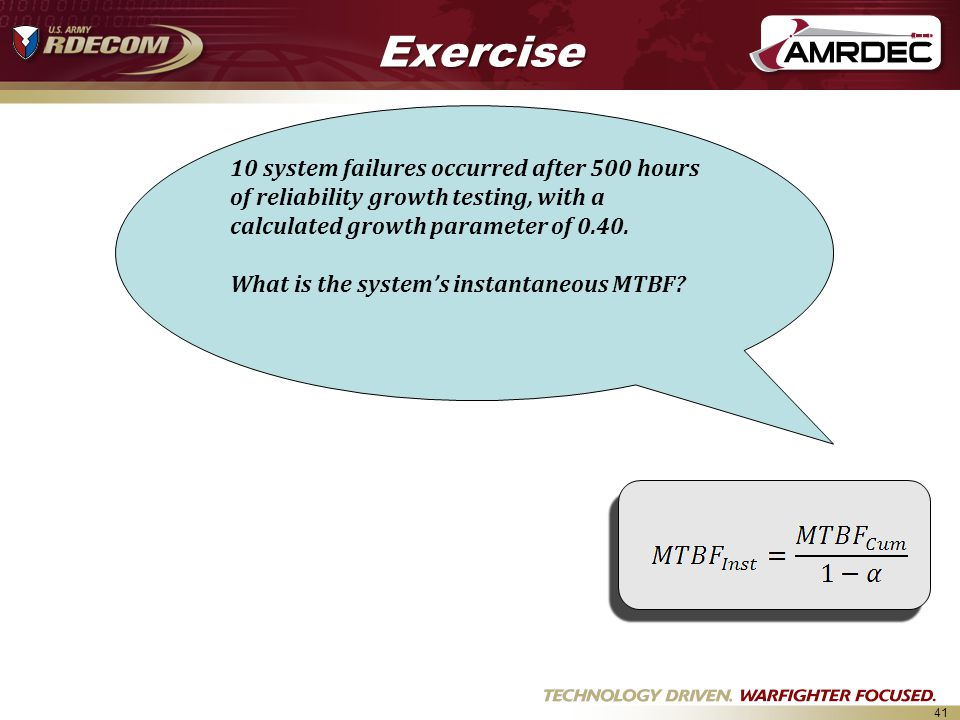 Exercise 10 system failures occurred after 500 hours of reliability growth testing, with a calculated growth parameter of 0.40.