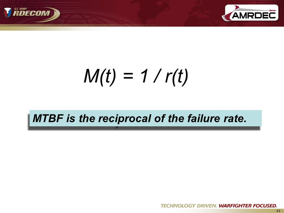 M(t) = 1 / r(t) MTBF is the reciprocal of the failure rate.