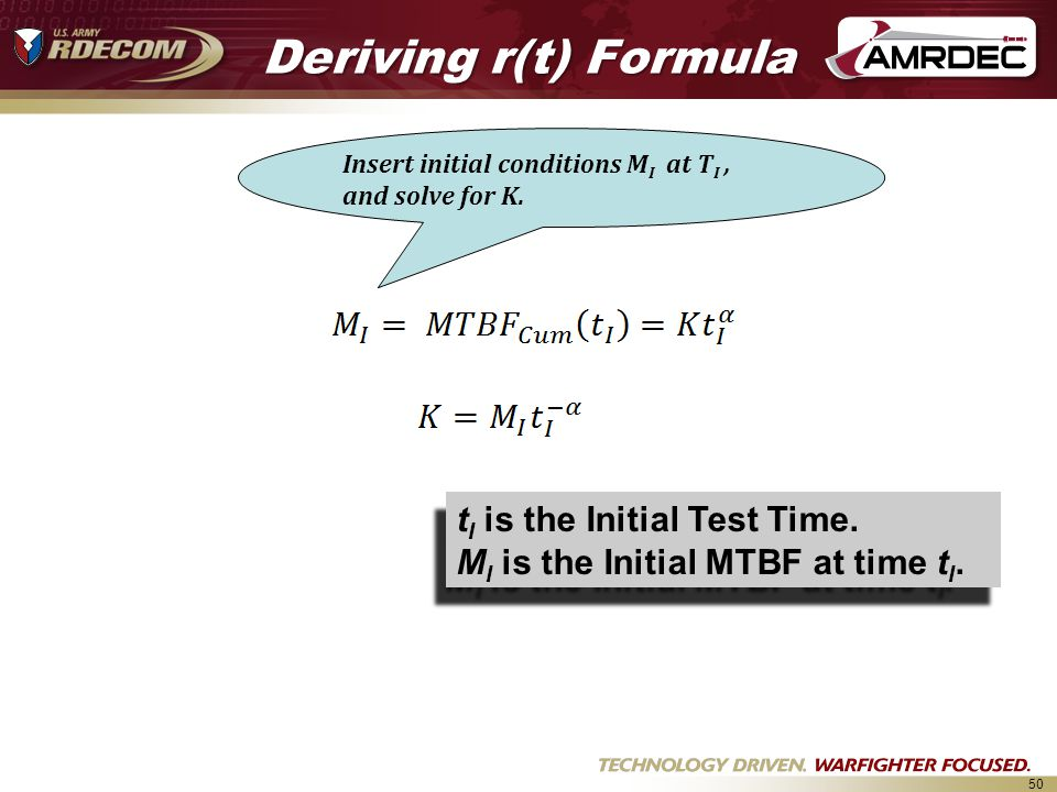 Deriving r(t) Formula tI is the Initial Test Time.