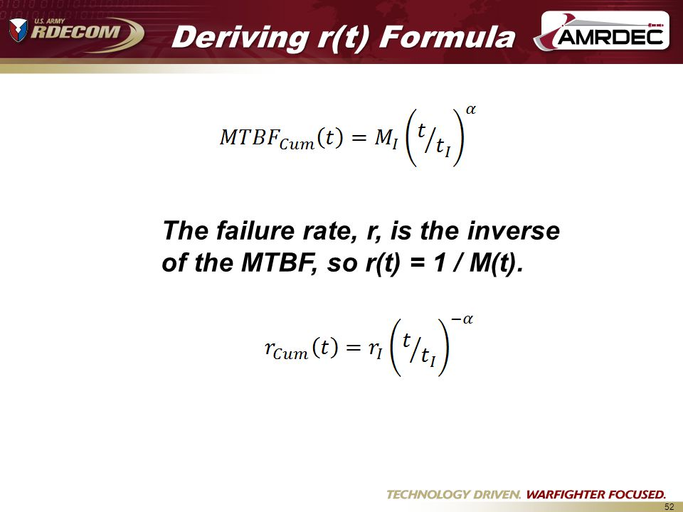 Deriving r(t) Formula The failure rate, r, is the inverse of the MTBF, so r(t) = 1 / M(t).