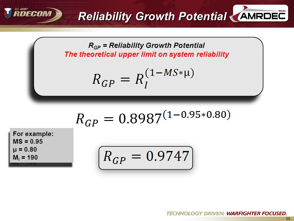 Reliability Growth Potential