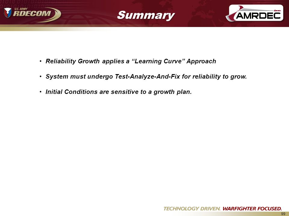Summary Reliability Growth applies a Learning Curve Approach