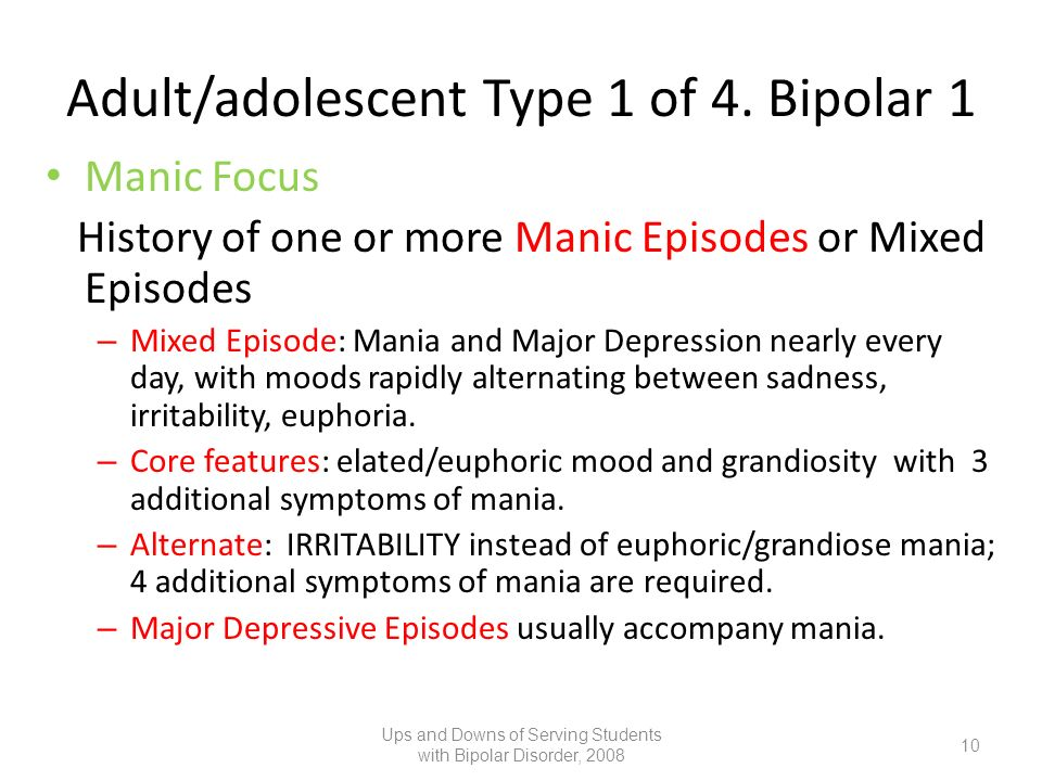Adult/adolescent Type 1 of 4. Bipolar 1