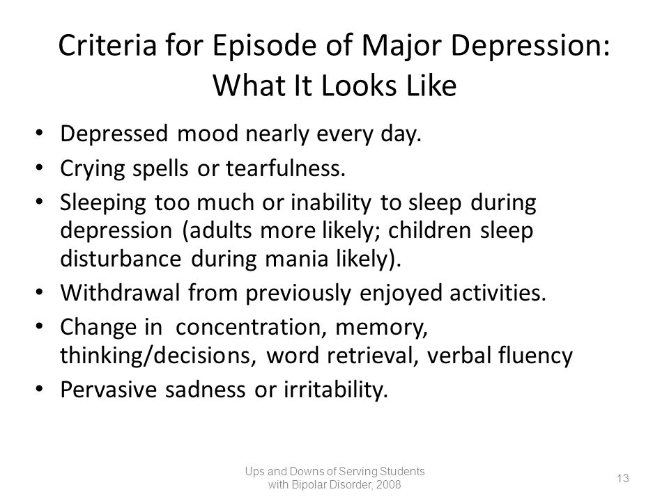 Criteria for Episode of Major Depression: What It Looks Like
