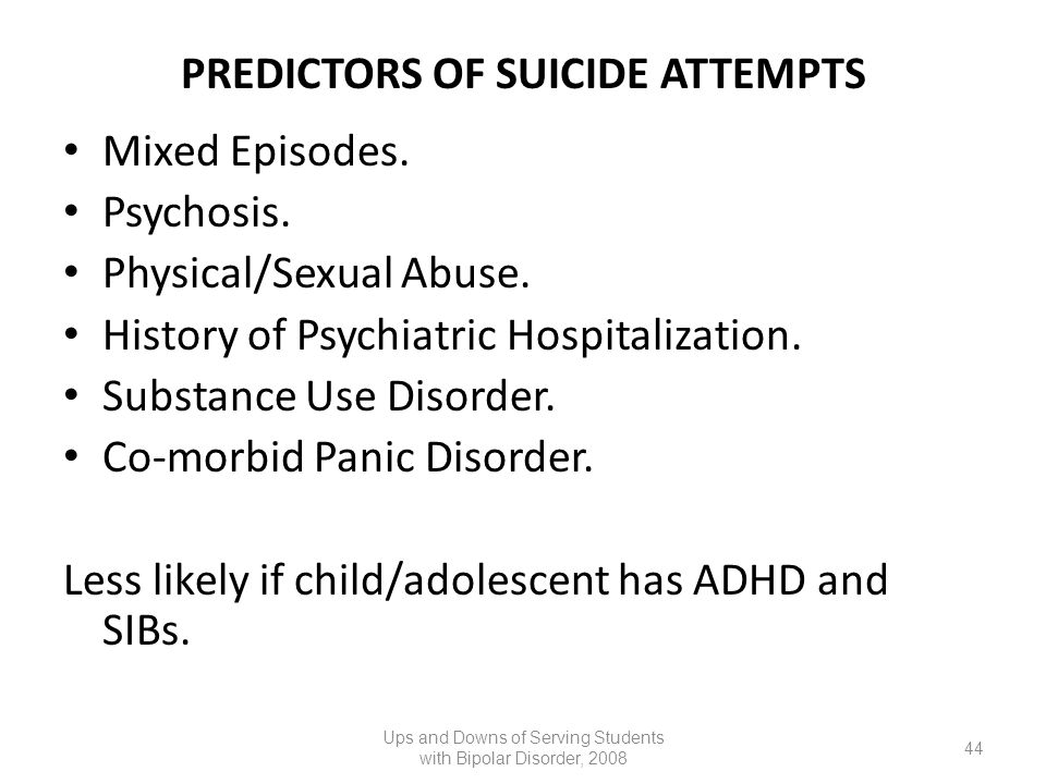 PREDICTORS OF SUICIDE ATTEMPTS