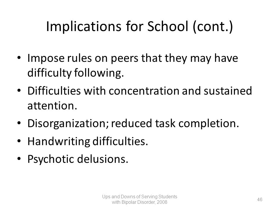 Implications for School (cont.)