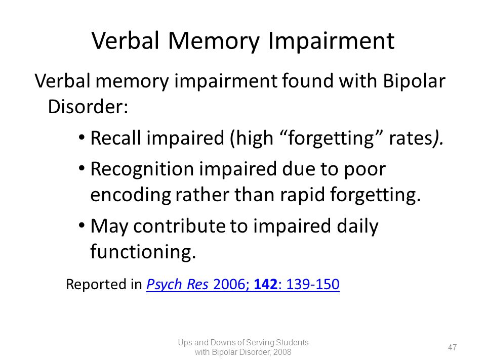 Verbal Memory Impairment