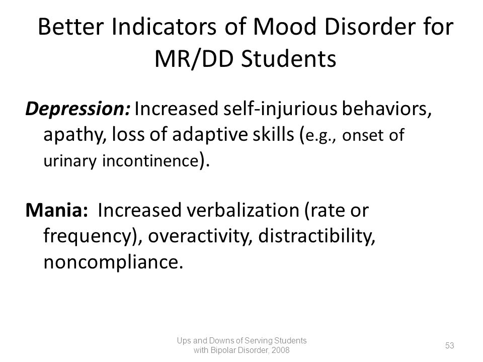 Better Indicators of Mood Disorder for MR/DD Students