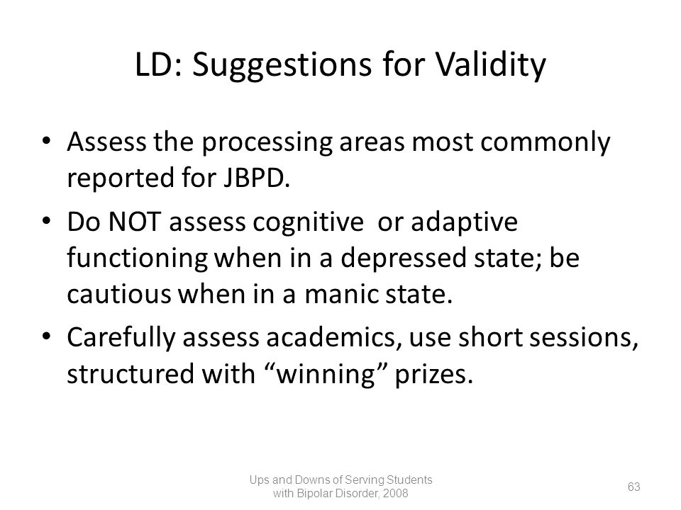 LD: Suggestions for Validity