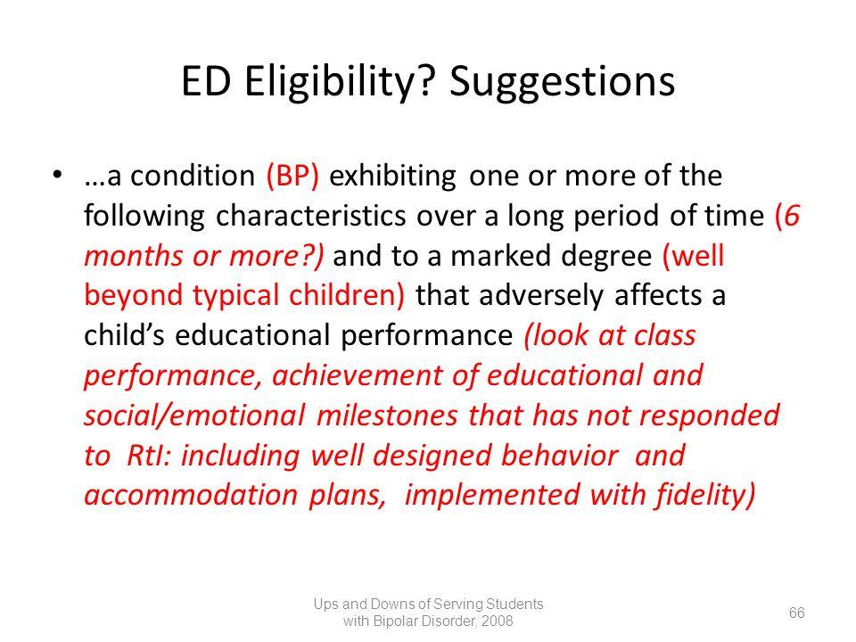 ED Eligibility Suggestions