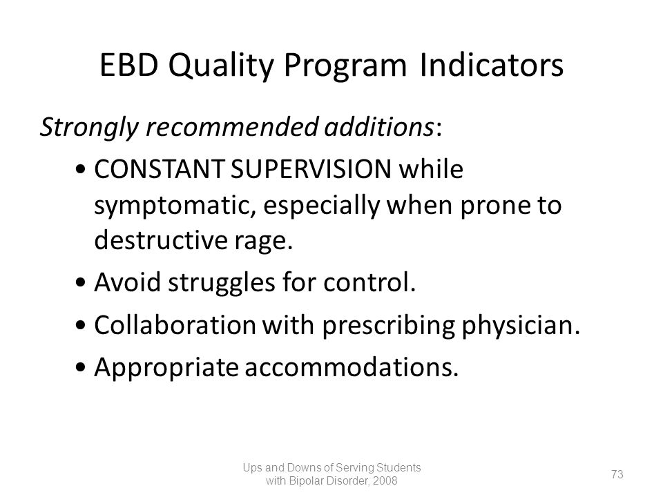 EBD Quality Program Indicators