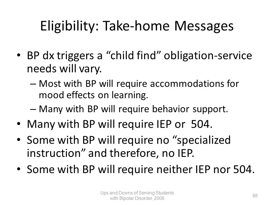 Eligibility: Take-home Messages