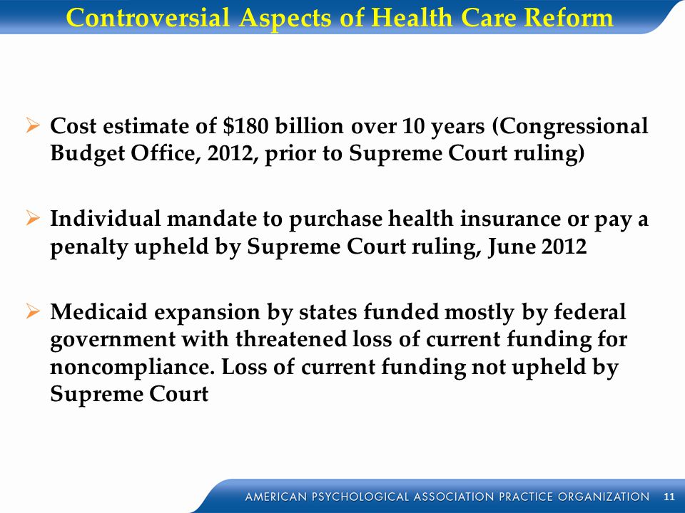 Controversial Aspects of Health Care Reform