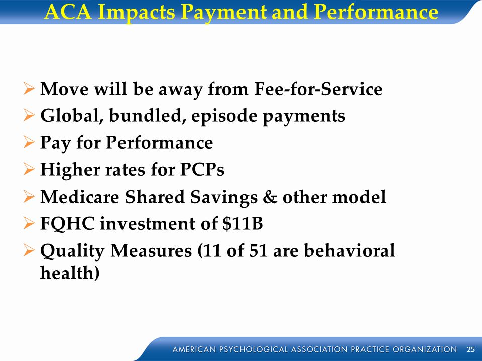 ACA Impacts Payment and Performance