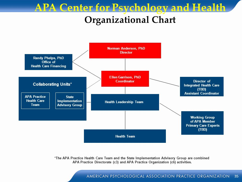 APA Center for Psychology and Health Organizational Chart