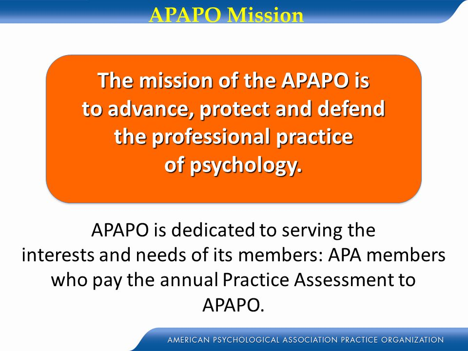 APAPO is dedicated to serving the