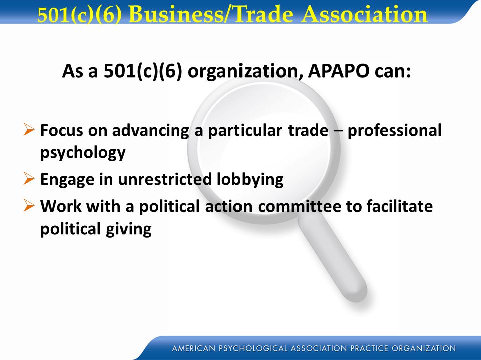 501(c)(6) Business/Trade Association