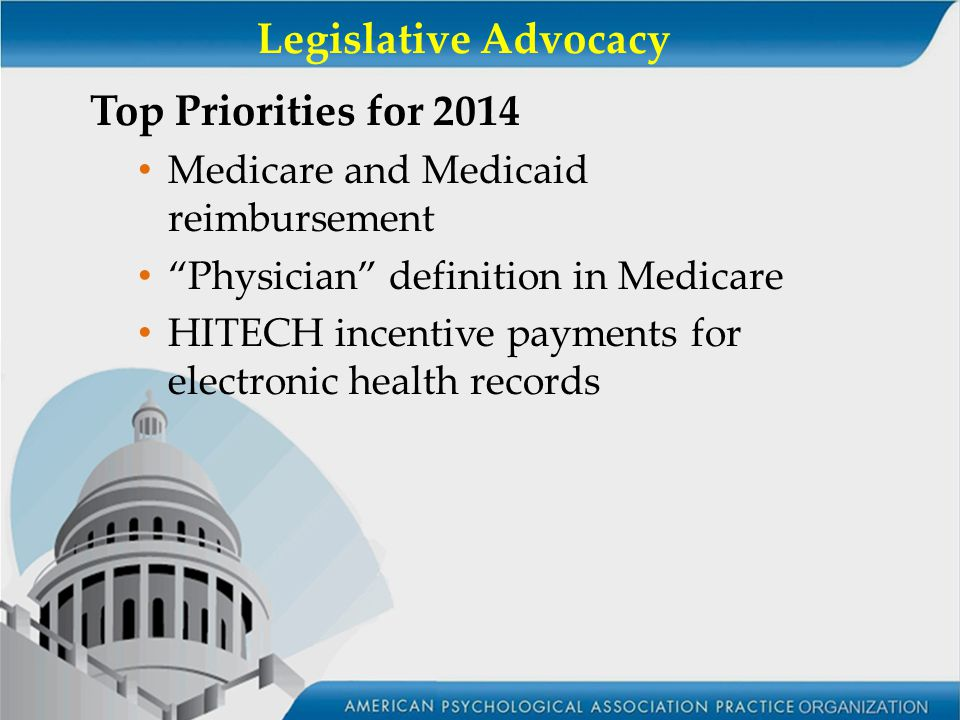 Legislative Advocacy Top Priorities for 2014