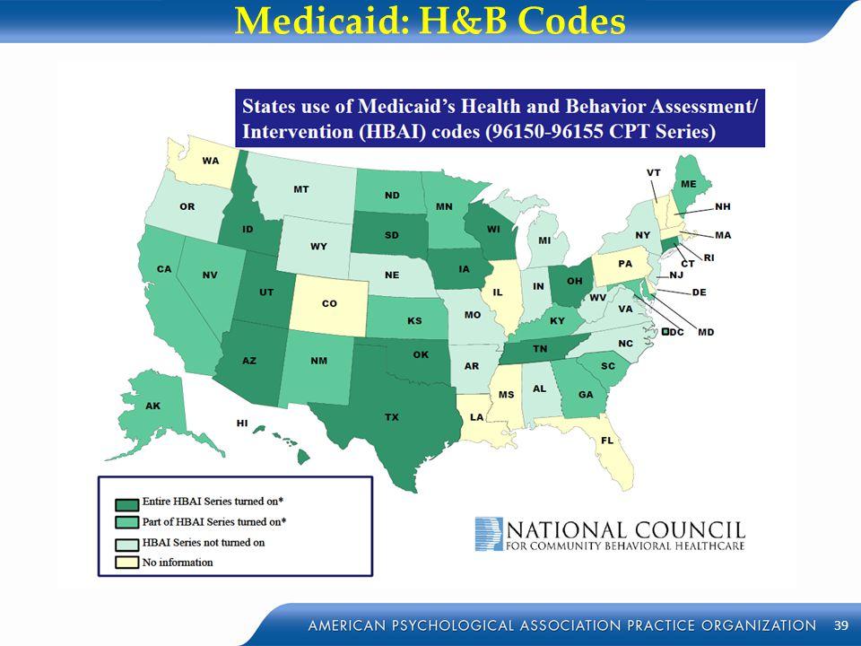 Medicaid: H&B Codes