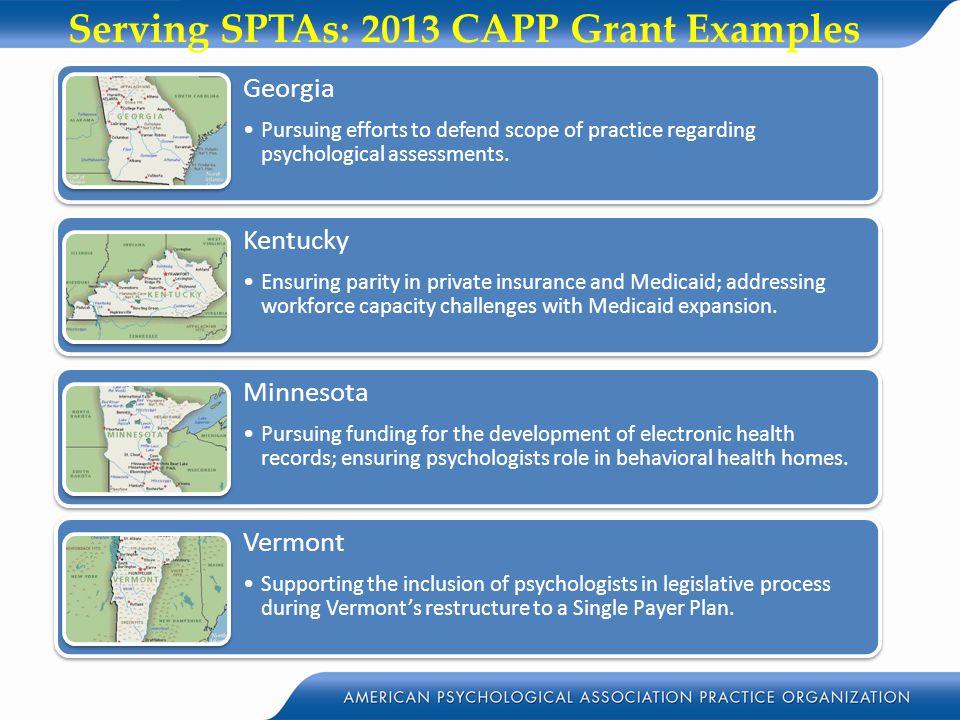 Serving SPTAs: 2013 CAPP Grant Examples