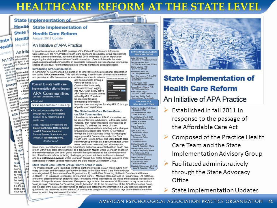 HEALTHCARE REFORM AT THE STATE LEVEL