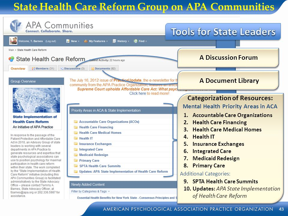 State Health Care Reform Group on APA Communities