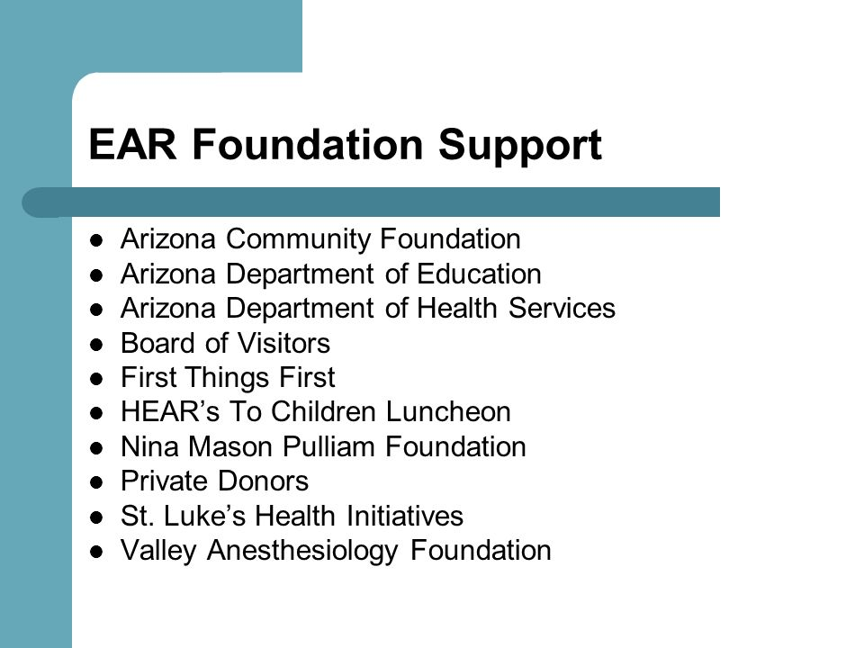 EAR Foundation Support