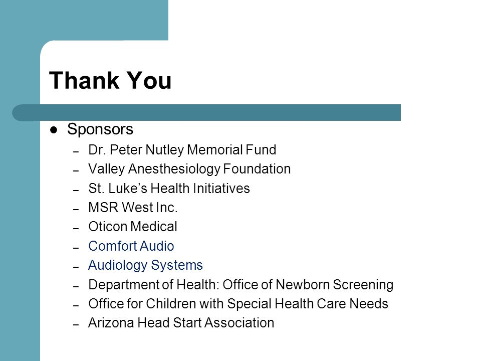 Thank You Sponsors Dr. Peter Nutley Memorial Fund